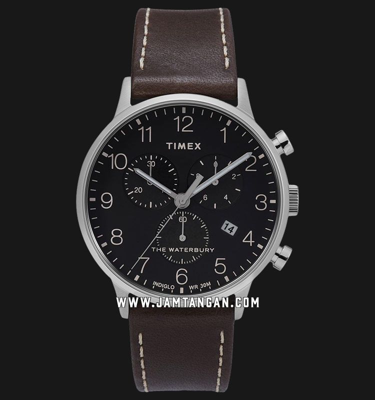 Timex TW2T28200 Waterbury Classic Chronograph Black Dial Brown Leather Strap Machtwatch