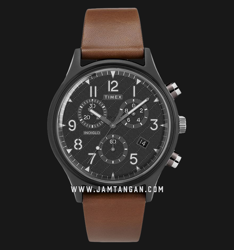 Timex TW2T29600 INDIGLO® MK1 Supernova™ Chronograph Black Dial Brown Leather Strap Machtwatch