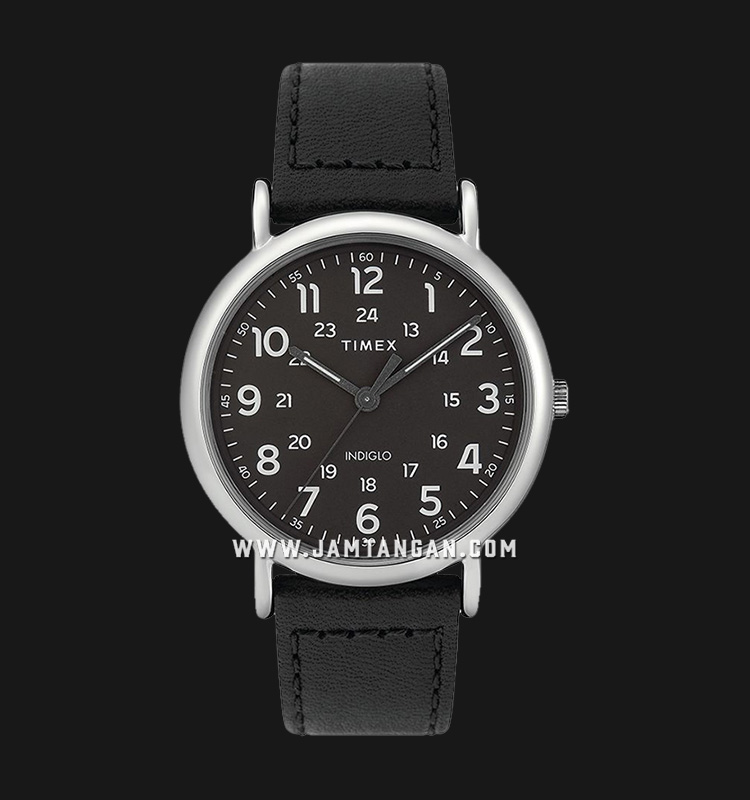 Timex TW2T30700 INDIGLO® Weekender Black Dial Black Leather Strap Machtwatch