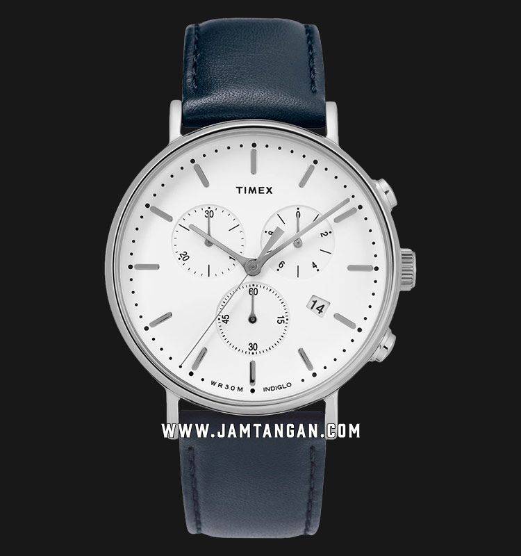 Timex TW2T32500 INDIGLO® Fairfield Chronograph White Dial Blue Leather Strap Machtwatch