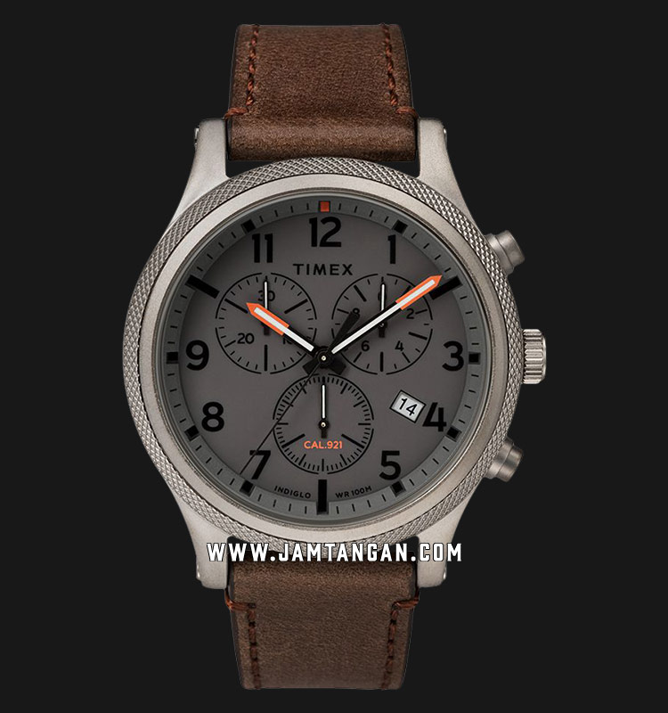 Timex TW2T32800 INDIGLO® Allied LT Chronograph Grey Dial Brown Leather Strap Machtwatch