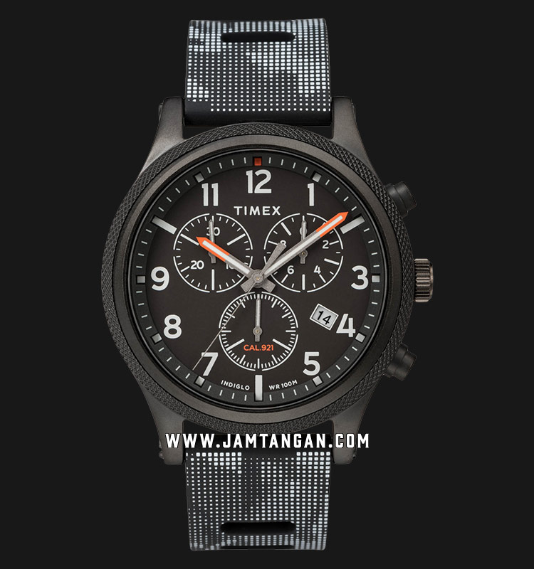 Timex TW2T33100 INDIGLO® Allied LT Chronograph Black Dial Black Rubber Strap Machtwatch