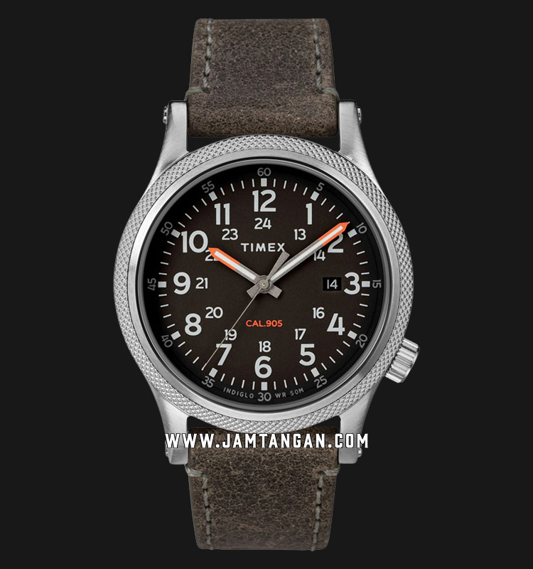 Timex TW2T33200 INDIGLO® Allied LT Black Dial Grey Leather Strap Machtwatch