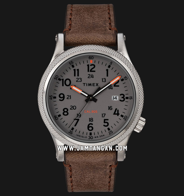 Timex TW2T33300 Allied LT Grey Dial Brown Leather Strap Machtwatch