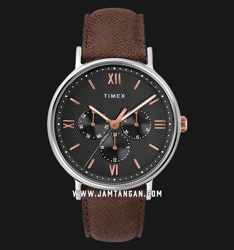 Timex TW2T35000 Southview Multifunction Black Dial Brown Leather Strap Machtwatch