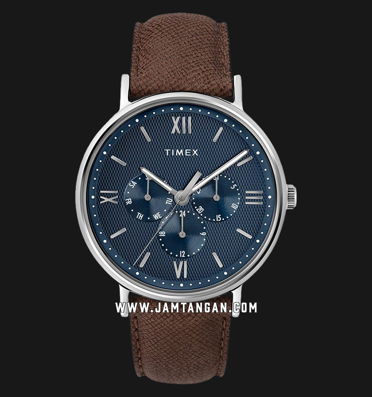 Timex TW2T35100 Southview Multifunction Blue Dial Brown Leather Strap Machtwatch