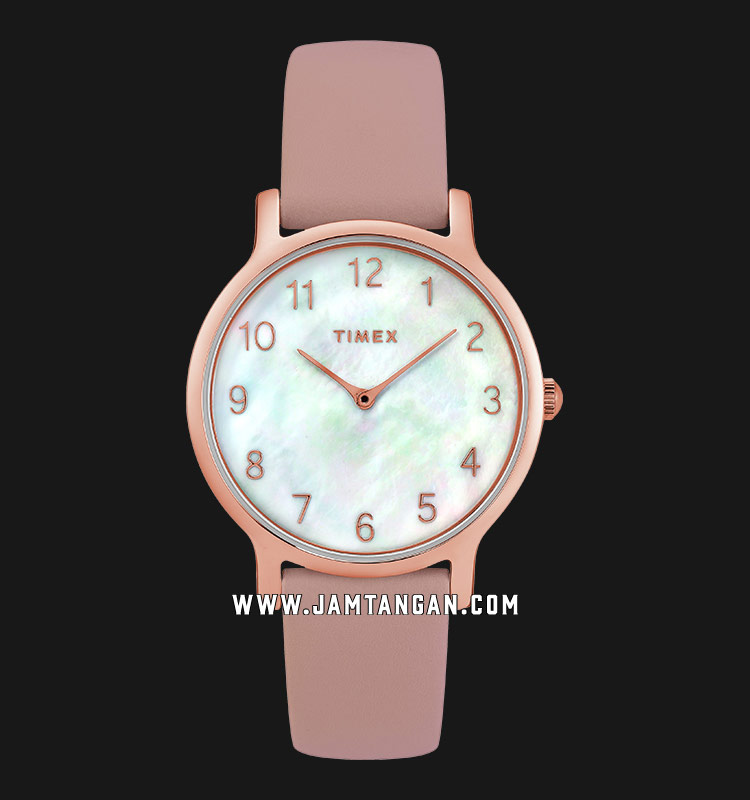 Timex TW2T36100 Metropolitan Mother of Pearl Dial Pink Leather Strap Machtwatch