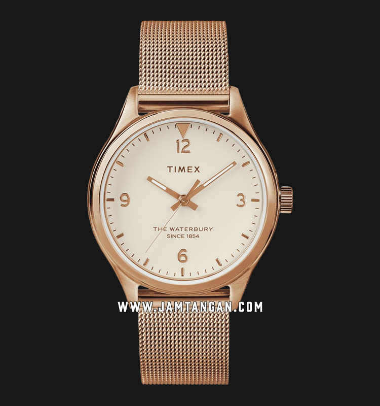 Timex TW2T36200 Waterbury Traditional Beige Dial Rose Gold Mesh Strap Machtwatch