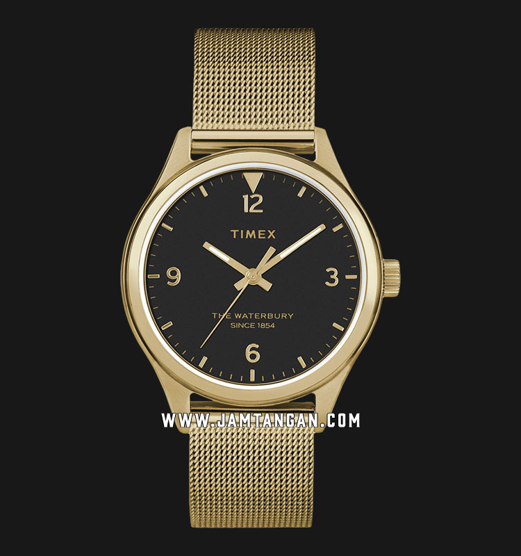 Timex TW2T36400 Waterbury Traditional Black Dial Gold Mesh Strap Machtwatch