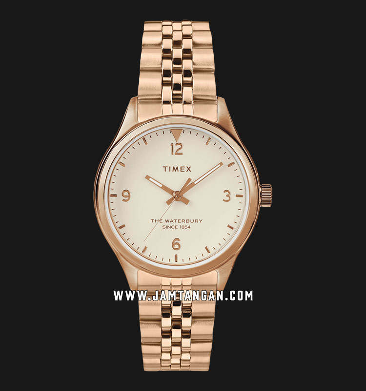 Timex TW2T36500 Waterbury Traditional Beige Dial Rose Gold Stainless Steel Strap Machtwatch