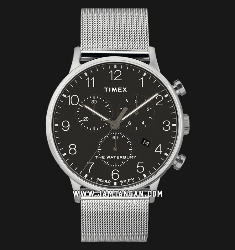 Timex TW2T36600 INDIGLO® The Waterbury Chronograph Black Dial Stainless Steel Strap Machtwatch