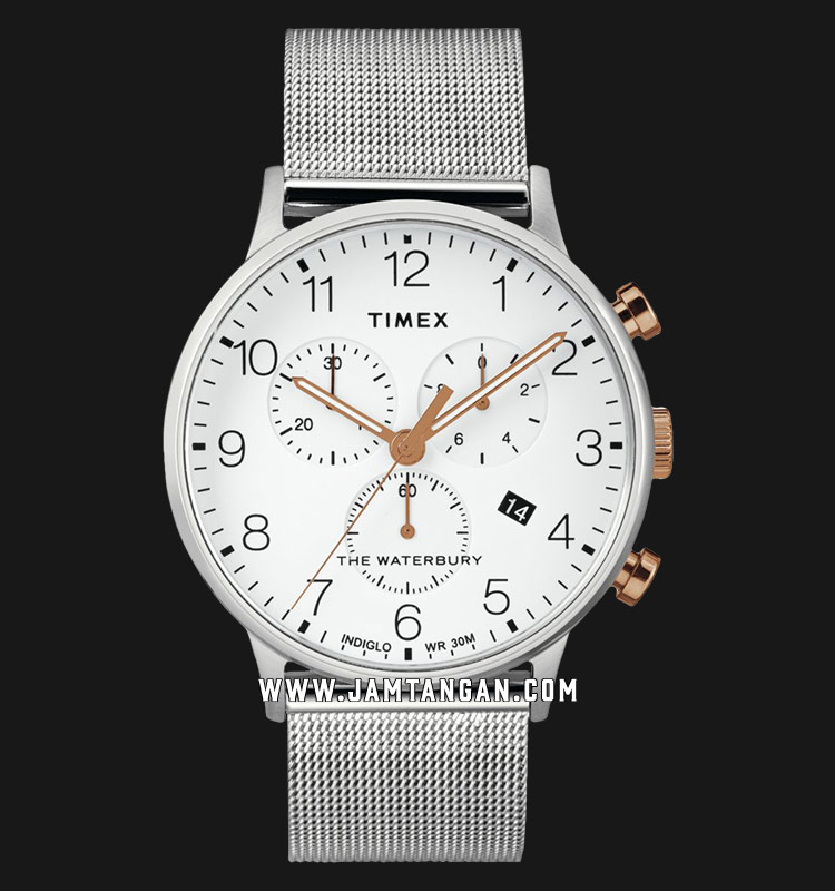 Timex TW2T36700 INDIGLO® The Waterbury Chronograph White Dial Stainless Steel Strap Machtwatch