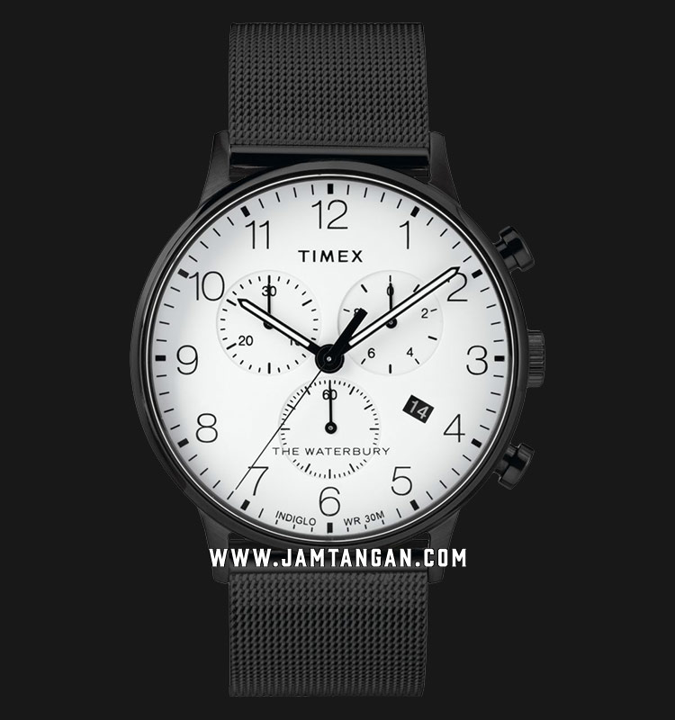 Timex TW2T36800 INDIGLO® The Waterbury Chronograph White Dial Black Stainless Steel Strap Machtwatch