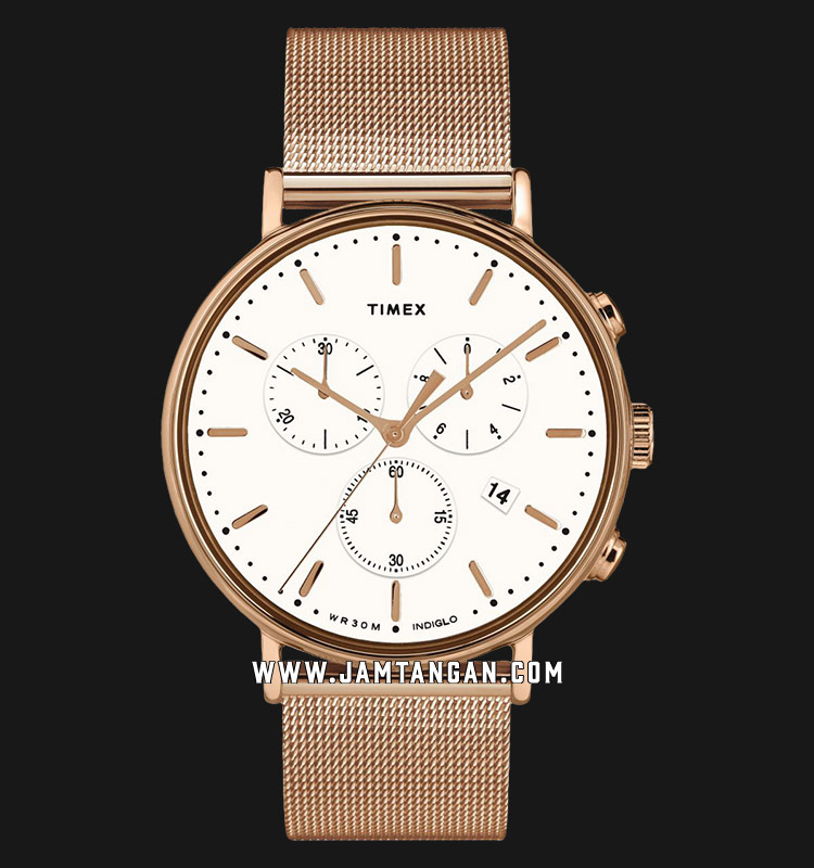 Timex TW2T37200 INDIGLO® Fairfield Chronograph White Dial Rose Gold Stainless Steel Strap Machtwatch