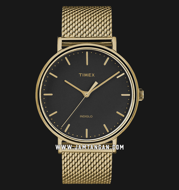 Timex TW2T37300 INDIGLO® Fairfield Black Dial Gold Stainless Steel Strap Machtwatch