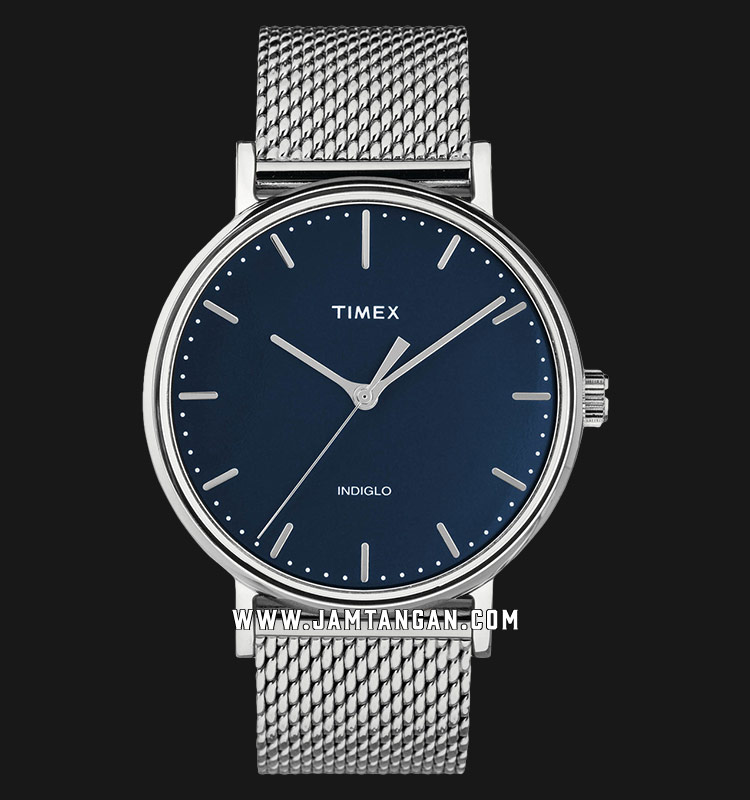 Timex TW2T37500 INDIGLO® Fairfield Blue Dial Stainless Steel Strap Machtwatch