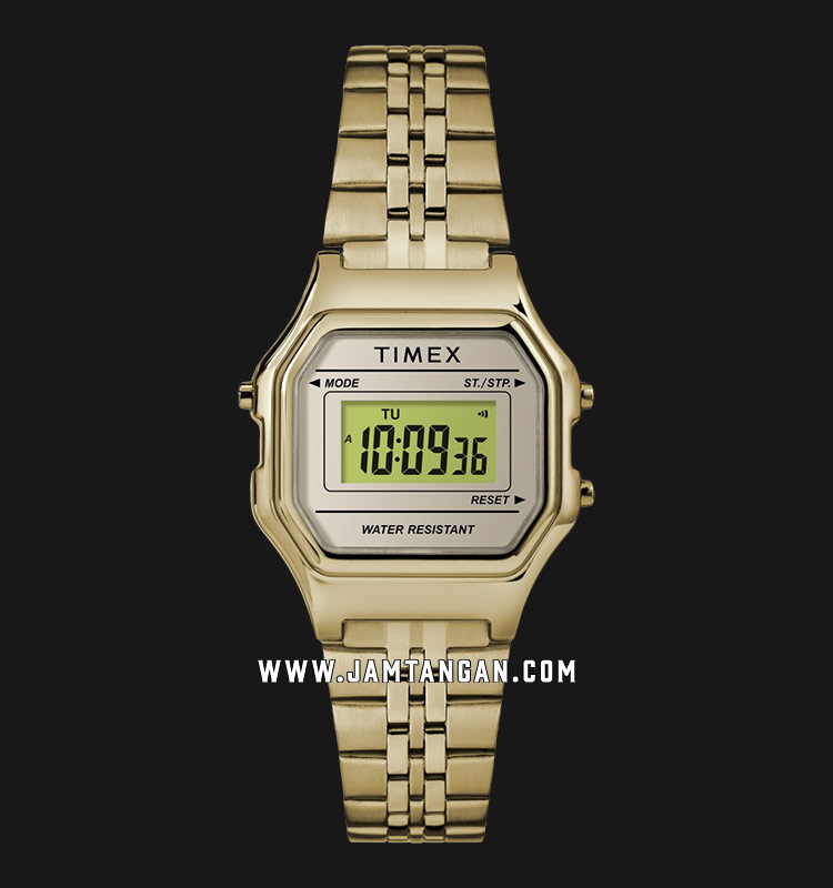 Timex TW2T48400 Digital Mini Dial Gold Stainless Steel Strap Machtwatch