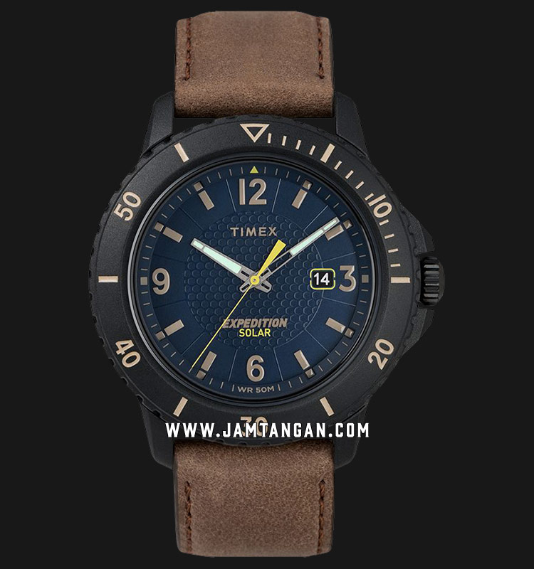 Timex TW4B14600 Expedition Gallatin Solar Blue Dial Brown Leather Strap Machtwatch