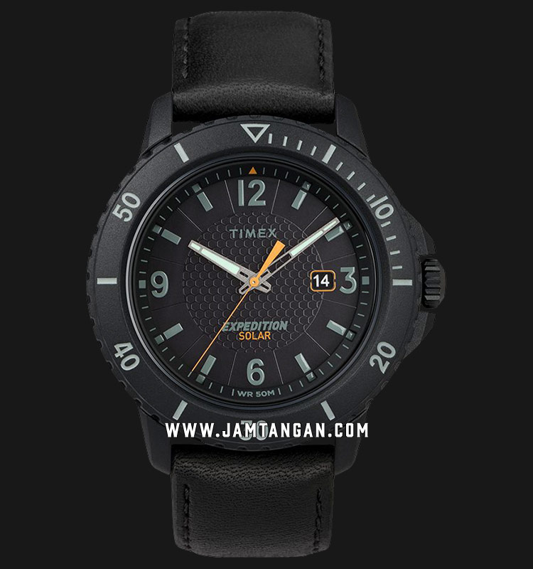 Timex TW4B14700 Expedition Gallatin Solar Black Dial Black Leather Strap Machtwatch