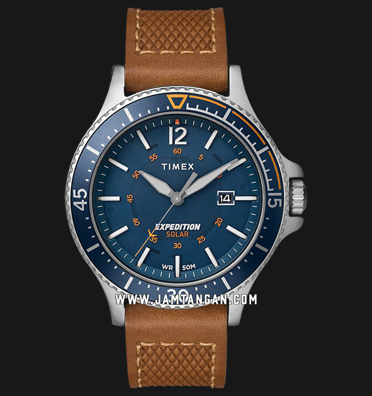 Timex TW4B15000 Expedition Ranger Solar Blue Dial Tan Leather Strap Machtwatch