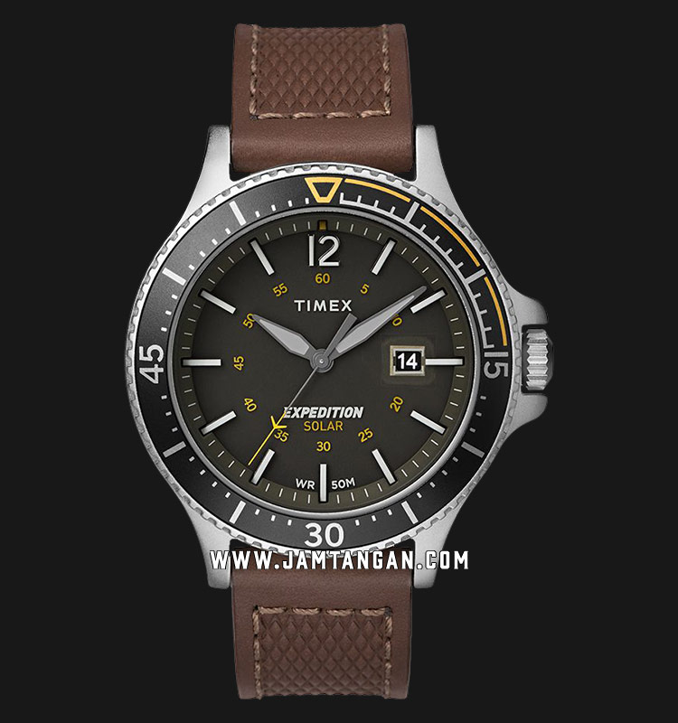 Timex TW4B15100 Expedition Range Solar Grey Dial Brown Leather Strap Machtwatch