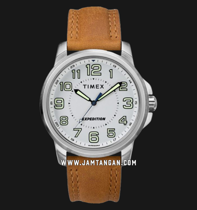 Timex TW4B16400 Expedition Field White Dial Tan Leather Strap Machtwatch