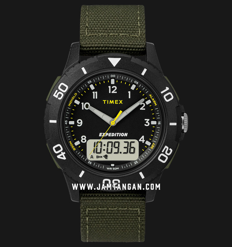 Timex TW4B16600 Expedition Katmai Combo Digital Analog Dial Green Nylon Strap Machtwatch