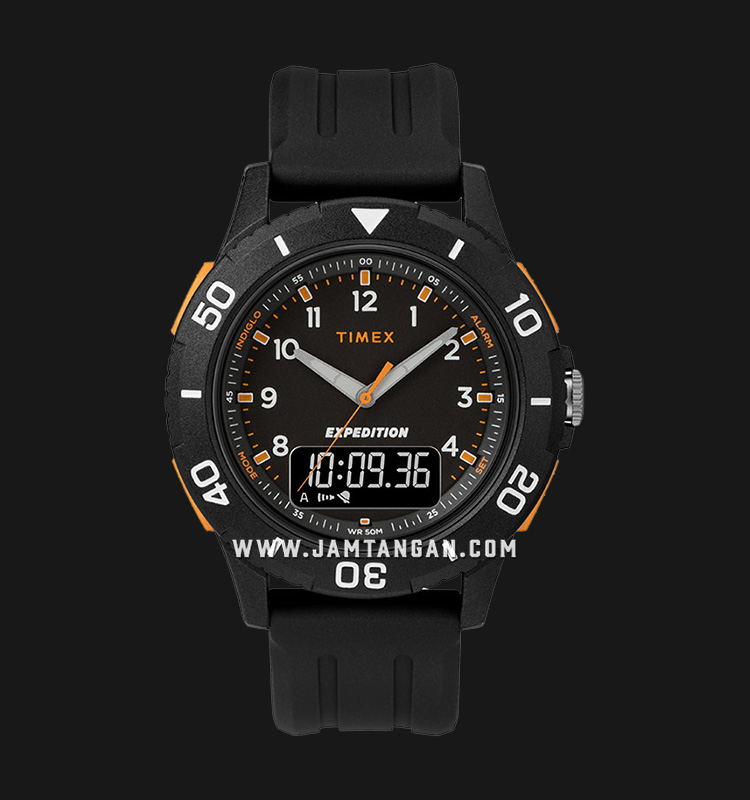 Timex TW4B16700 Expedition Katmai Combo Digital Analog Dial Black Resin Strap Machtwatch