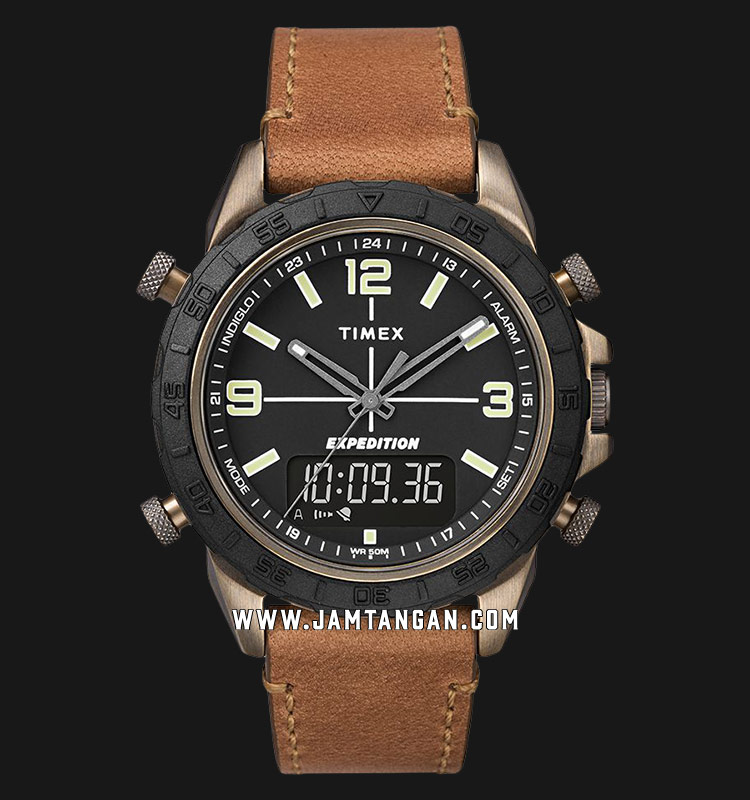 Timex TW4B17200 INDIGLO® Expedition Pioneer Combo Black Dial Brown Leather Strap Machtwatch