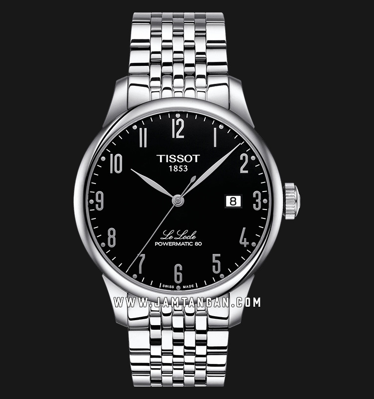 Tissot Le Locle Powermatic80 T006.407.11.052.00 Black Pattern Dial Stainless Steel Strap Machtwatch