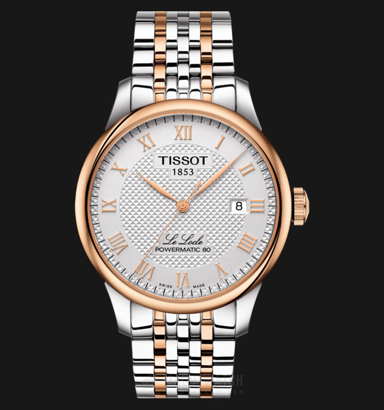 TISSOT Le Locle Powermatic80 T006.407.22.033.00 Silver Pattern Dial Dual Tone Stainless Steel Machtwatch