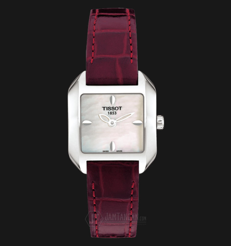 TISSOT T-Wave Round Mother of Pearl Dial Red Leather T02.1.265.71 Machtwatch