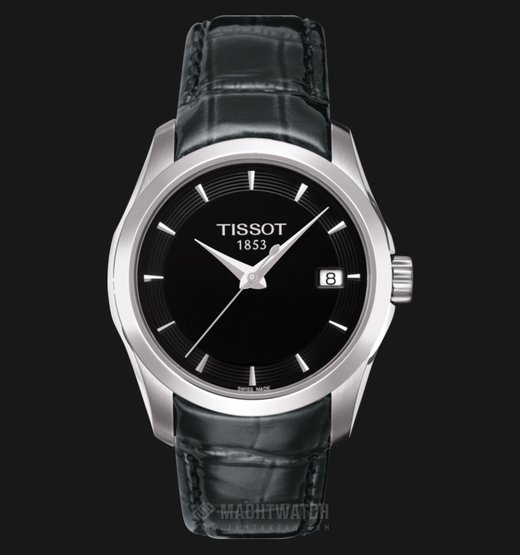 TISSOT Couturier T035.210.16.051.00 Ladies Black Dial Black Leather Strap Machtwatch