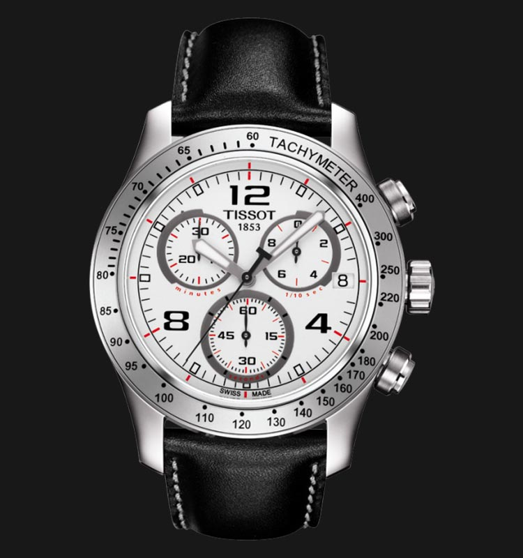 Tissot V8 T039.417.16.037.02 Chronograph White Dial Black Leather Strap Machtwatch