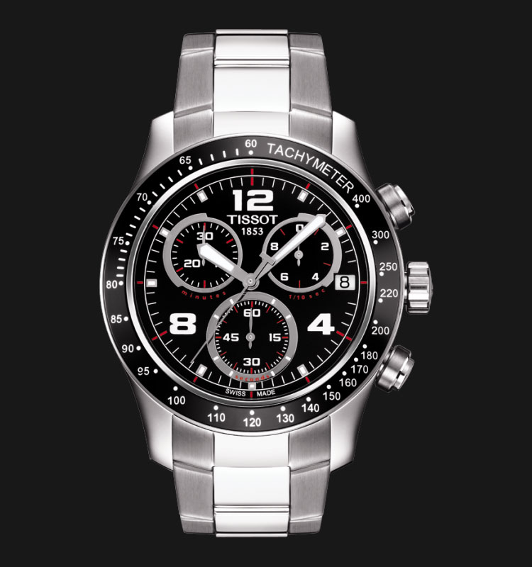 Tissot V8 T039.417.11.057.02 Chronograph Black Dial Stainless Steel Machtwatch