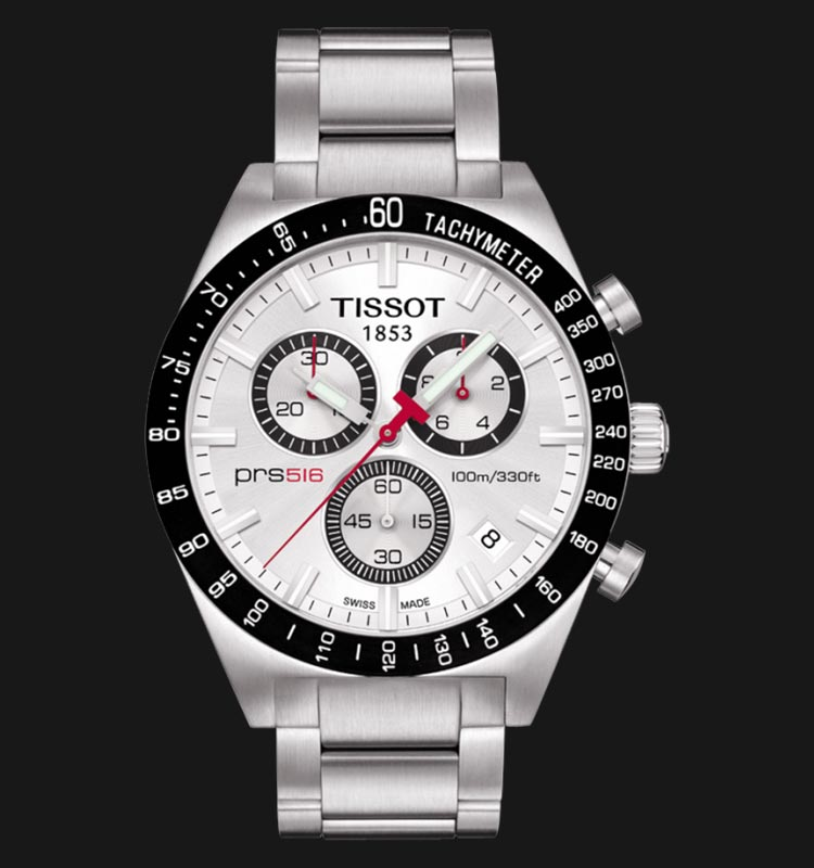 TISSOT PRS 516 T044.417.21.031.00 Chronograph Gent White Dial Stainless Steel Strap Machtwatch