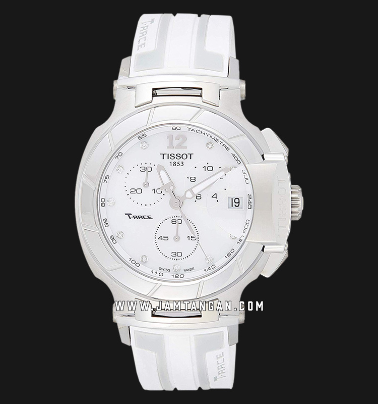 Tissot T-Race T048.417.17.116.0 Chronograph Unisex Mother Of Pearl Dial White Rubber Strap Machtwatch