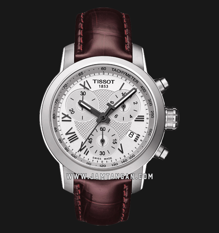 Tissot T055.217.16.033.01 T-Sport Chronograph Ladies Silver Dial Brown Leather Strap Machtwatch