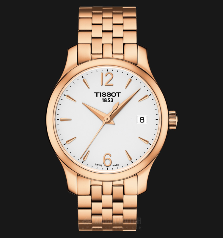 TISSOT Tradition T063.210.33.037.00 White Dial Rose Gold Stainless Steel Machtwatch