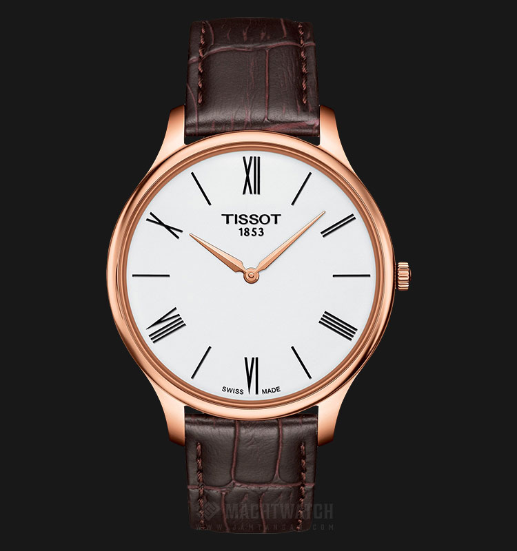 TISSOT T063.409.36.018.00 T-Classic Tradition Thin Man White Dial Brown Leather Strap Machtwatch