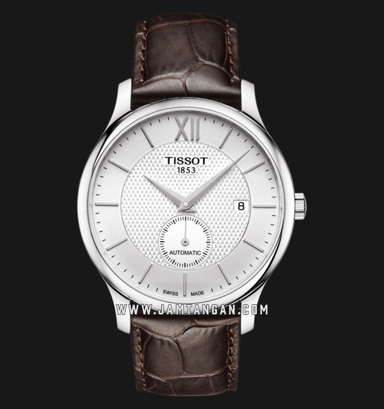 Tissot T063.428.16.038.00 Tradition Small Second Automatic Men Silver Dial Brown Leather Strap Machtwatch