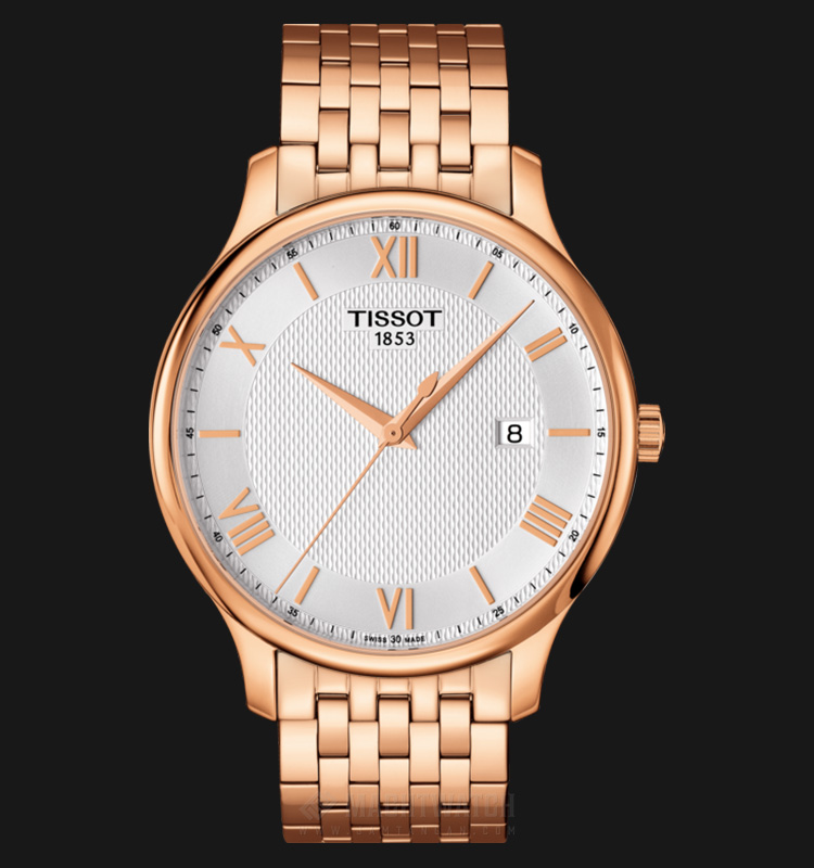 Tissot Tradition T063.610.33.038.00 Silver Pattern Dial Rose Gold Stainless Steel Machtwatch