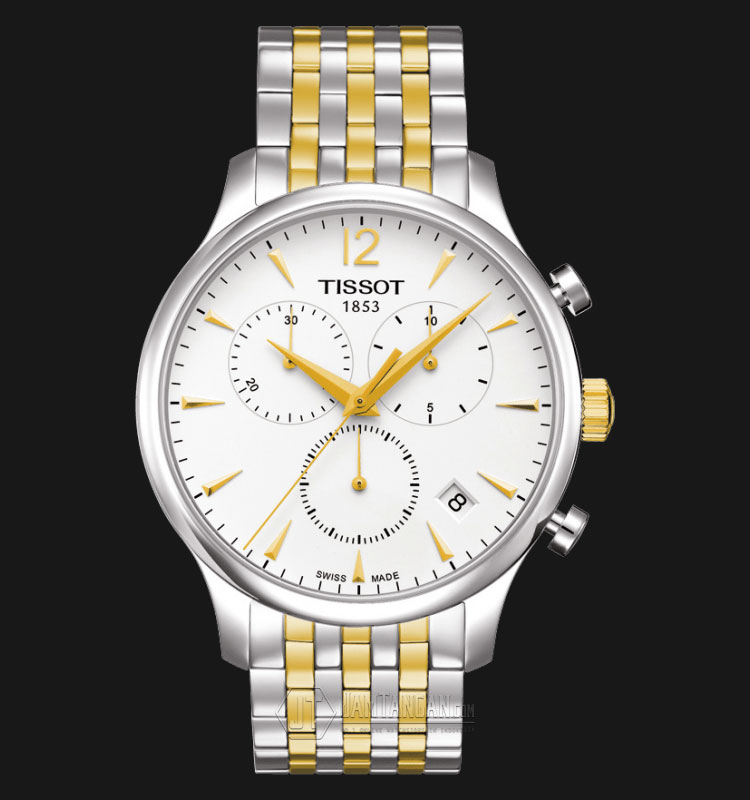 TISSOT T-Classic Tradition Chronograph White Dial Two-tone T063.617.22.037.00 Machtwatch
