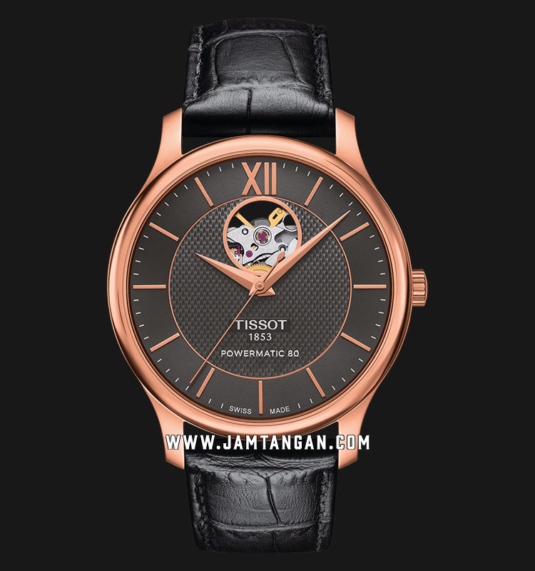 Tissot Tradition T063.907.36.068.00 Men Open Heart Anthracite Dial Black Leather Strap Machtwatch