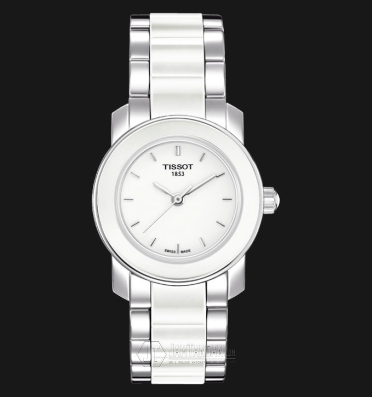 Tissot T-Trend T064.210.22.011.00 Ladies White Dial Stainless Steel with Ceramic Strap Machtwatch