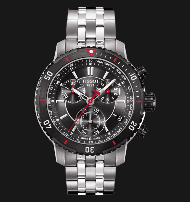 Tissot PRS 200 T067.417.21.051.00 Chronograph Black Dial Stainless Steel Strap Machtwatch
