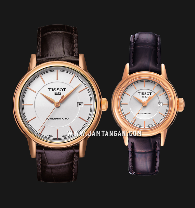 TISSOT T085.407.36.011.00_T085.207.36.011.00 T-Classic Carson Couple Brown Leather Strap Machtwatch
