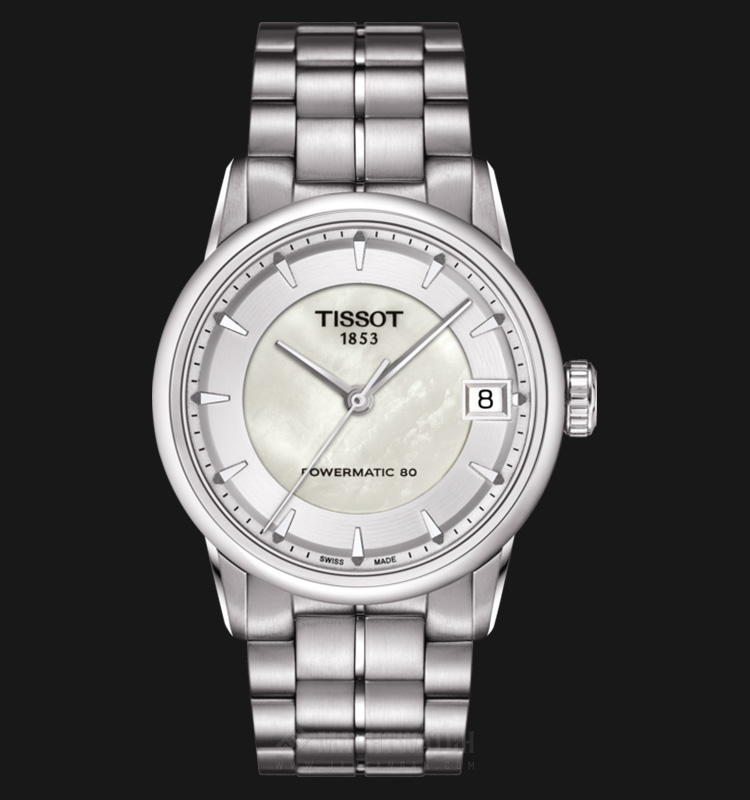 TISSOT Luxury Powermatic80 T086.207.11.111.00 White Mother of Pearl Dial Stainless Steel Machtwatch