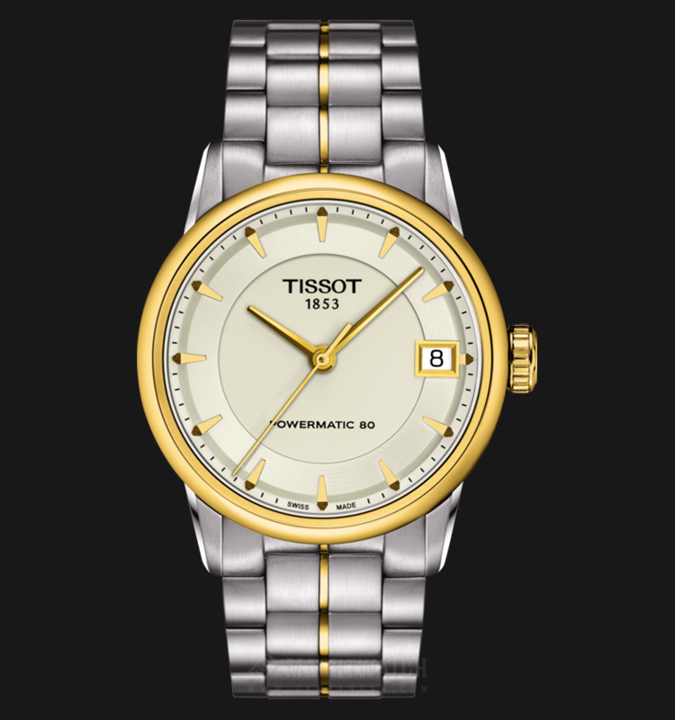 TISSOT Luxury Powermatic80 T086.207.22.261.00 Ivory Dial Dual Tone Stainless Steel Machtwatch