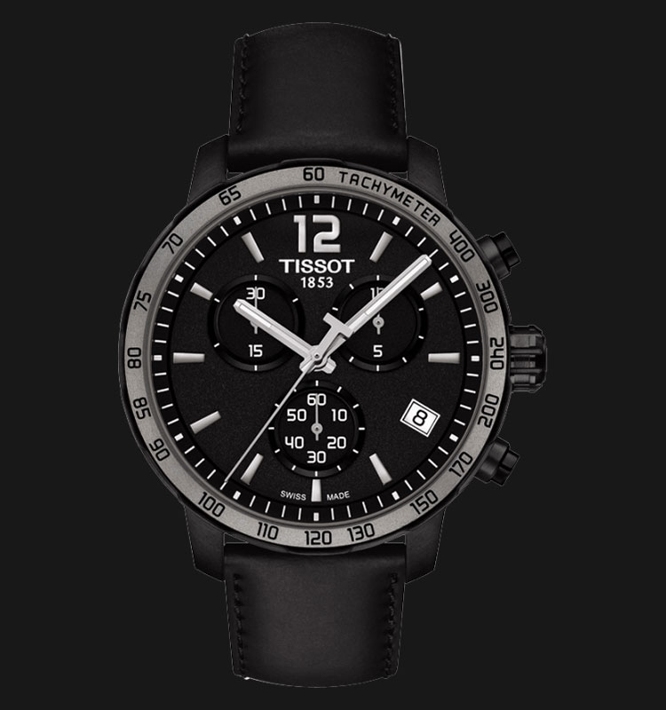 TISSOT Quickster Chronograph Black Leather T095.417.36.057.02 Machtwatch